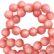 Super Polaris beads round 10 mm shiny Burnt Coral Pink