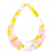 Resin pendants drop 45x34mm Pink-Yellow