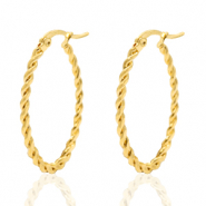 Stainless steel earrings creole oval twist Gold
