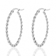 Stainless steel earrings creole oval twist Silver