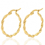 Stainless steel earrings creole 30mm twist Gold