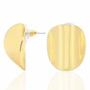 Trendy earrings oval Gold (nickel free)