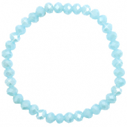 Top faceted bracelets 6x4mm Light Blue-Pearl Shine Coating
