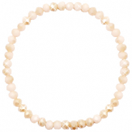 Top faceted bracelets 4x3mm Nude Beige-Half Pearl Shine Coating