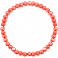Top faceted bracelets 6x4mm Coral Orange-Pearl Shine Coating