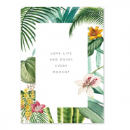 Jewellery cards 'love life and enjoy every moment' White-Green