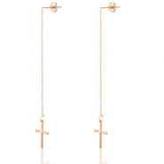Stainless steel earrings cross Rose Gold