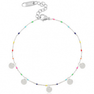 Stainless steel anklets rainbow coins Silver