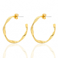 DQ European metal findings creole earrings 32mm twist Gold (nickel free)