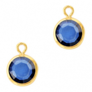 DQ Crystal glass charms round 6mm Gold-Denim Blue