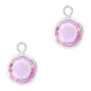DQ Crystal glass charms round 6mm Silver-Violet Purple