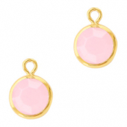 DQ Crystal glass charms round 6mm Gold-Rose Alabaster