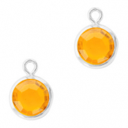 DQ Crystal glass charms round 6mm Silver-Sunflower Yellow