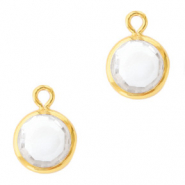 DQ Crystal glass charms round 6mm Gold-Crystal