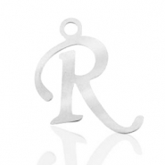 Stainless steel charms initial R Silver