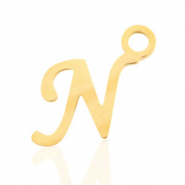 Stainless steel charms initial N Gold