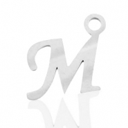 Stainless steel charms initial M Silver