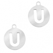 Stainless steel charms round 10mm initial coin U Silver