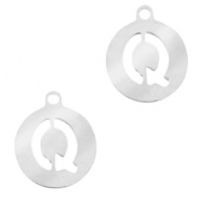 Stainless steel charms round 10mm initial coin Q Silver