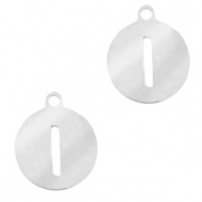 Stainless steel charms round 10mm initial coin I Silver