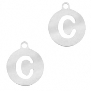 Stainless steel charms round 10mm initial coin C Silver