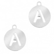 Stainless steel charms round 10mm initial coin A Silver
