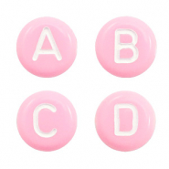 Acrylic letter beads mix Pink