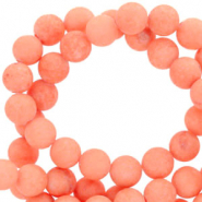 8 mm natural stone beads round mountain jade matt Living Coral Red