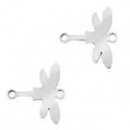 Stainless steel charms connector dragonfly Silver