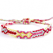 Ready-made Bracelets/Anklets Brazilian style| One size fits all| Economy pack Multicolour Yellow-Pink