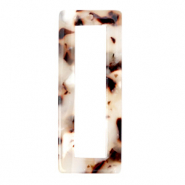 Resin pendants rectangle 40x16mm Mixed Beige Brown