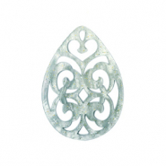 Resin pendants drop baroque 38x27mm Ash Grey-Green