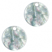 Resin pendants round 12mm Ash Grey-Green