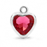 Crystal glass charms heart Indian Pink-Silver