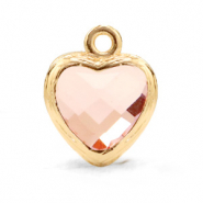 Crystal glass charms heart Vintage Pink-Gold