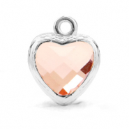 Crystal glass charms heart Vintage Pink-Silver