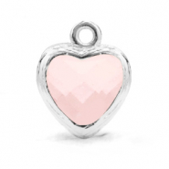 Crystal glass charms heart Rose Alabaster-Silver
