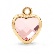 Crystal glass charms heart Light Pink-Gold