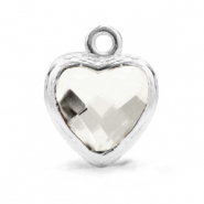 Crystal glass charms heart Crystal-Silver