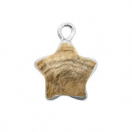Natural stone charms star Porcini Brown-Silver