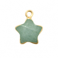 Natural stone charms star Ocean Green-Gold