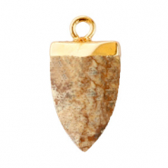 Natural stone charms tooth Porcini Brown-Gold