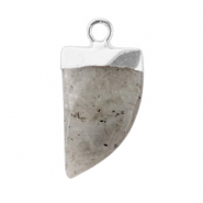 Natural stone charms tooth Neutral Grey-Silver