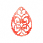 Resin pendants drop baroque 38x27mm Coral Red