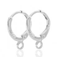Findings TQ metal earrings closable 1 loop 11mm Antique Silver