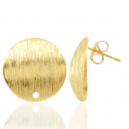 Findings TQ metal earrings round 18mm 1 eye Gold