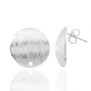 Findings TQ metal earrings round 15mm 1 eye Antique Silver