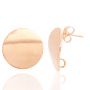 Findings TQ metal earrings round 18mm 1 loop Light Rose Gold