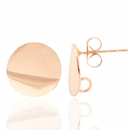 Findings TQ metal earrings round 12mm 1 loop Light Rose Gold