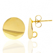 Findings TQ metal earrings round 12mm 1 loop Gold